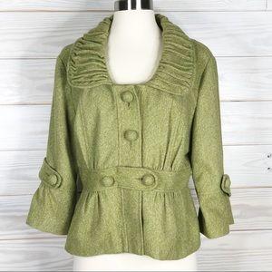 Anthropologie Tabitha Green Pea Coat Blazer 12
